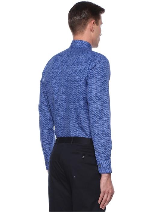Modern Fit Lacivert Mikro Desenli Gömlek