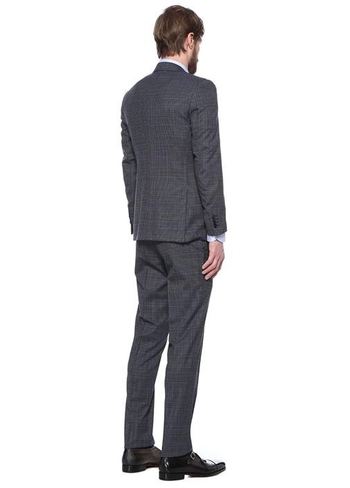 Drop 8 Gri Yelekli Mikro Desenli Yün Takım Elbise