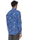 Lacivert Çiçek Desenli İngiliz Yaka Gömlek