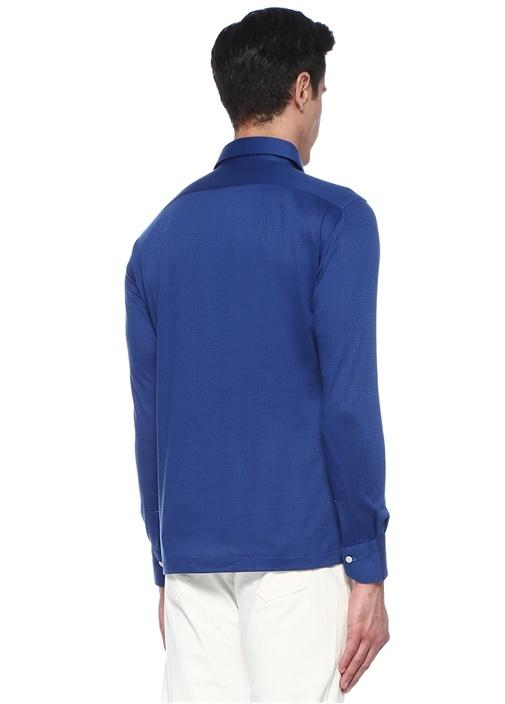 Lacivert İngiliz Yaka Kareli Sweatshirt
