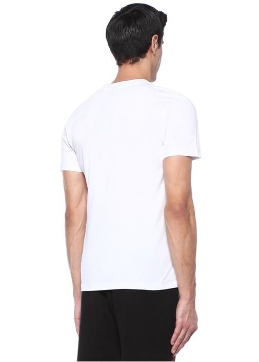 Beyaz Bisiklet Yaka Kabartmalı Baskılı T-shirt