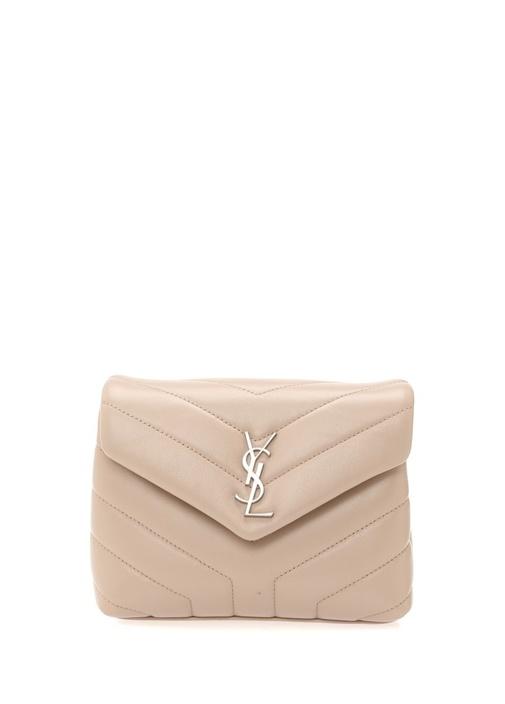 Monogram Bej Logolu Kadın Deri Çanta