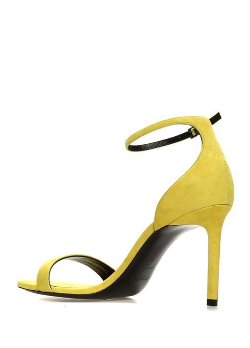 Amber Sarı İnce Bantlı Kadın Süet Sandalet