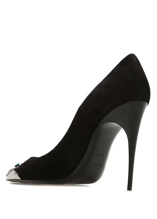 Zoe Siyah Taş Detaylı Nubuk Topuklu Ayakkabı