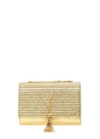 9e1363a2b0d23 Saint Laurent Kadın Kate Metalik Gold Logolu Deri Abiye Çanta Altın Rengi EU