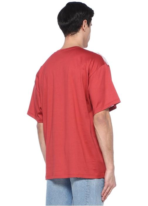Kırmızı Bisiklet Yaka Çiçek Desenli Basic T-shirt