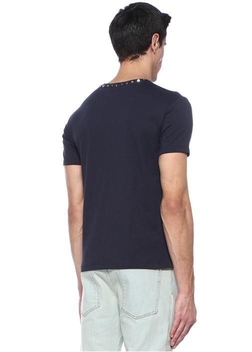 Rockstud 09 Lacivert Bisiklet Yaka Cepli T-shirt