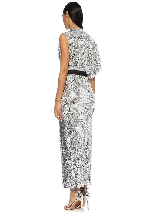 Camyrn Silver V Yaka Asimetrik Payetli Maxi Elbise