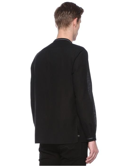 Siyah Yakası Bağcıklı Etnik Desen Detaylı Gömlek