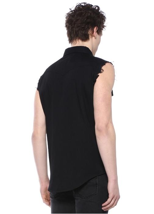 Siyah Yıpratma Detaylı Kolsuz Denim Gömlek