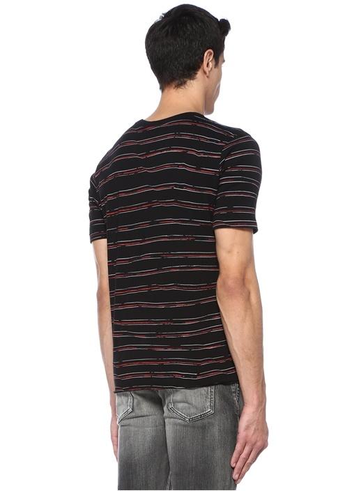 Siyah Kırmızı Bisiklet Yaka Çizgili Basic T-shirt