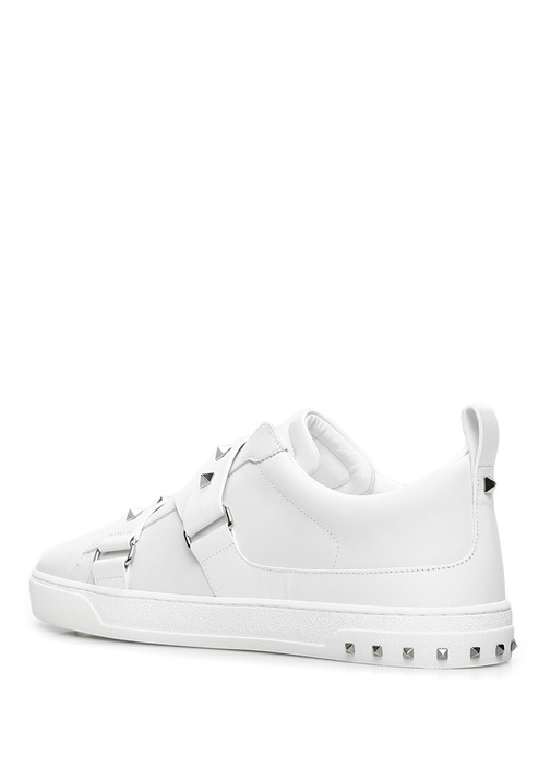 V Punk Beyaz Kemer Detaylı Erkek Deri Sneaker