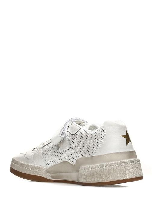 Beyaz Desenli Yıldız Baskılı Erkek DeriSneaker