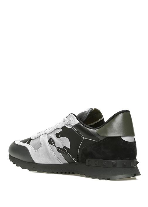 Gri Siyah Kamuflaj Desenli Erkek Deri Sneaker