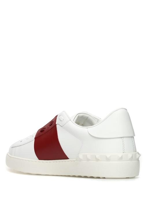 Open Beyaz Kırmızı Şeritli Erkek Deri Sneaker