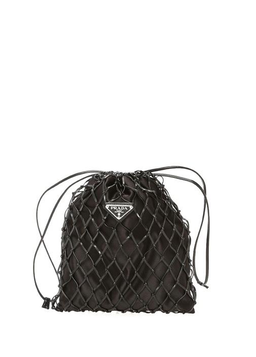 Siyah Logolu Kafes Detaylı Kadın Abiye Çanta