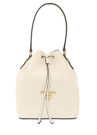 Prada Kadın Beyaz Gold Logolu Deri Çanta Ürün Resmi