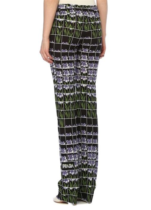 Siyah Çiçekli Beli Kemerli Boru Paça Pantolon
