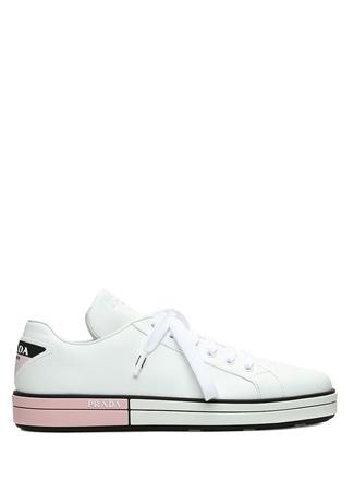 Prada Kadın Beyaz Taban Detaylı Logolu Deri Sneaker 35 EU