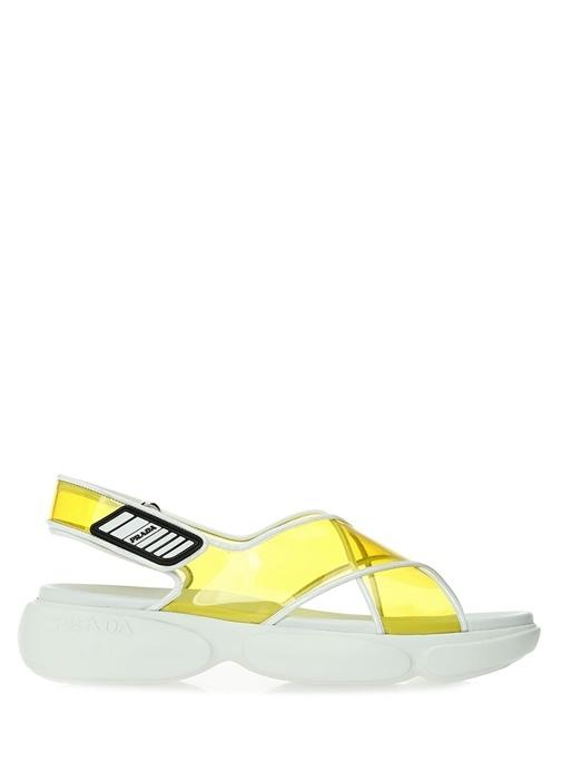 Sarı Beyaz Çapraz Bantlı Trasnparan Kadın Sandalet