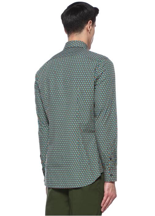 Colourblocked Mikro Desenli İngiliz Yaka Gömlek