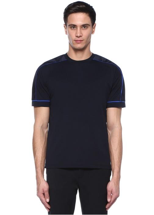 Siyah Bisiklet Yaka Garnili Biyeli T-shirt