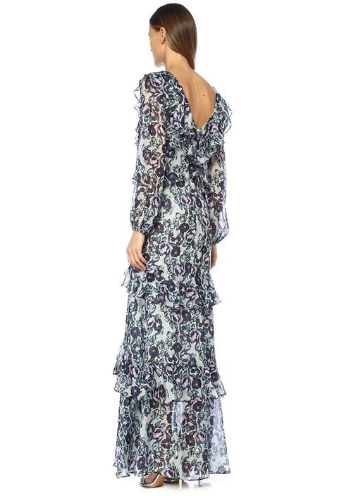 Kerry Mavi V Yaka Çiçekli Volanlı Maxi İpek Elbise