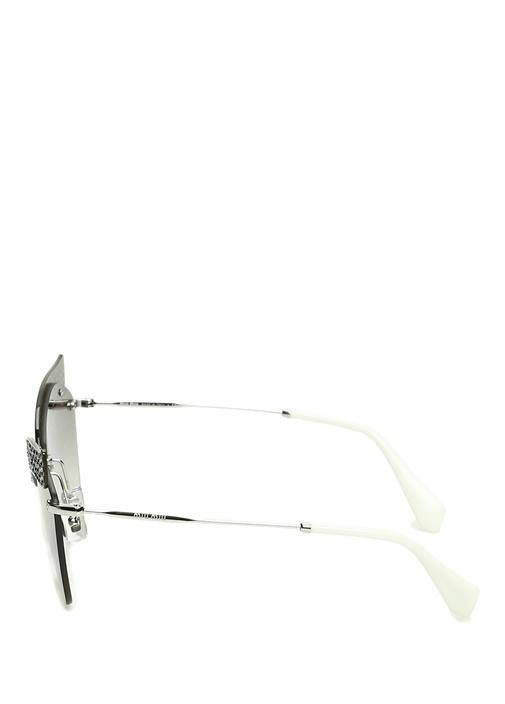 Gri Cat Eye Formlu İşlemeli Kadın GüneşGözlüğü