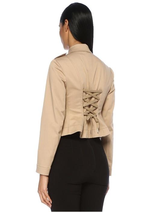 Bej İngiliz Yaka Sırtı Bağcık Detaylı Ceket