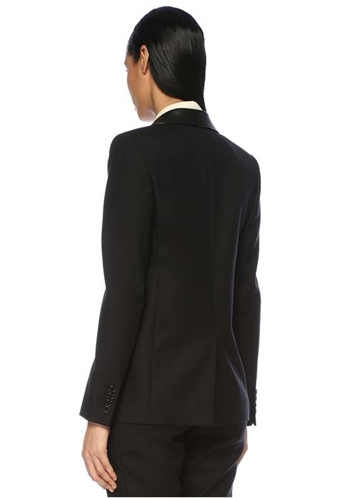 Siyah Kelebek Yaka Deri Şerit Detaylı Yün Ceket