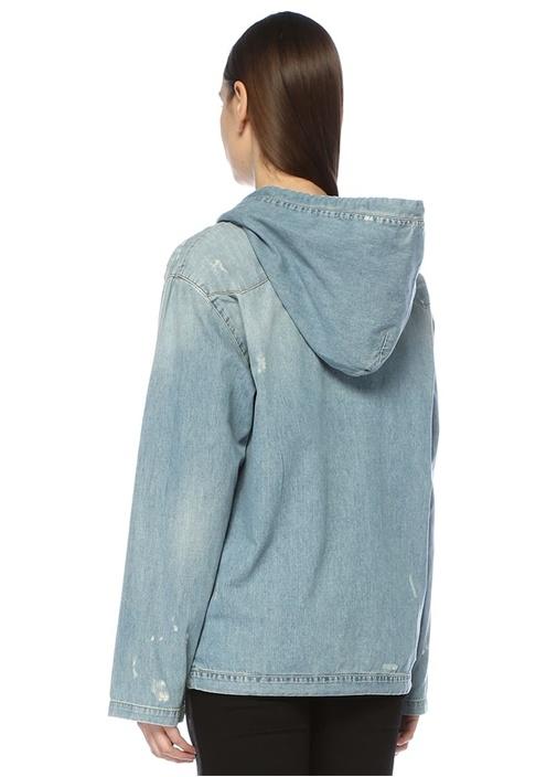 Kapüşonlu Bağcıklı Yıpratma Detaylı Denim Gömlek