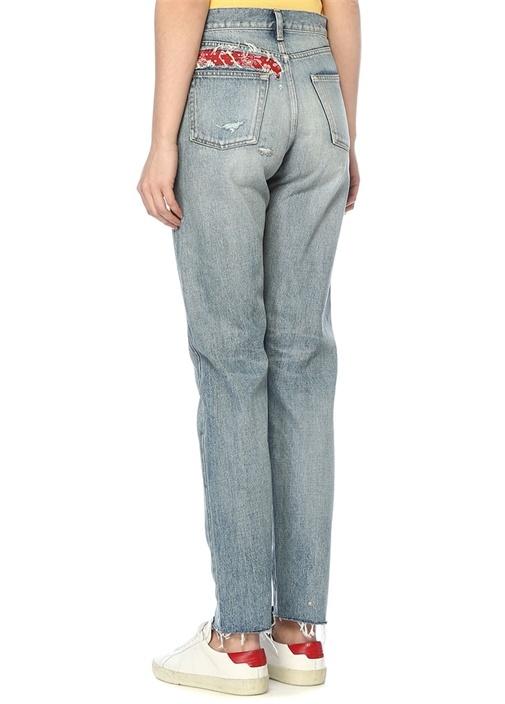 Yüksek Bel Şal Desen Detaylı Slim Jean Pantolon