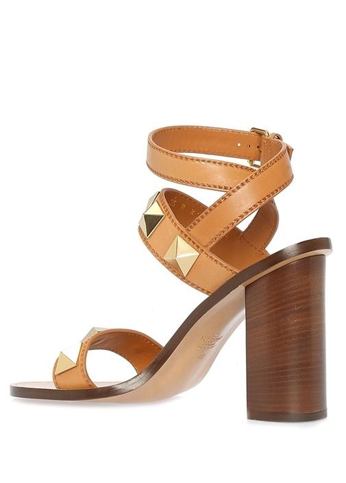 Rockstud Taba Gold Kadın Deri Sandalet