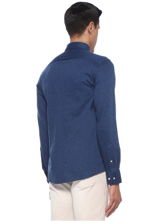 Slim Fit Lacivert Düğmeli Yaka Logolu Gömlek