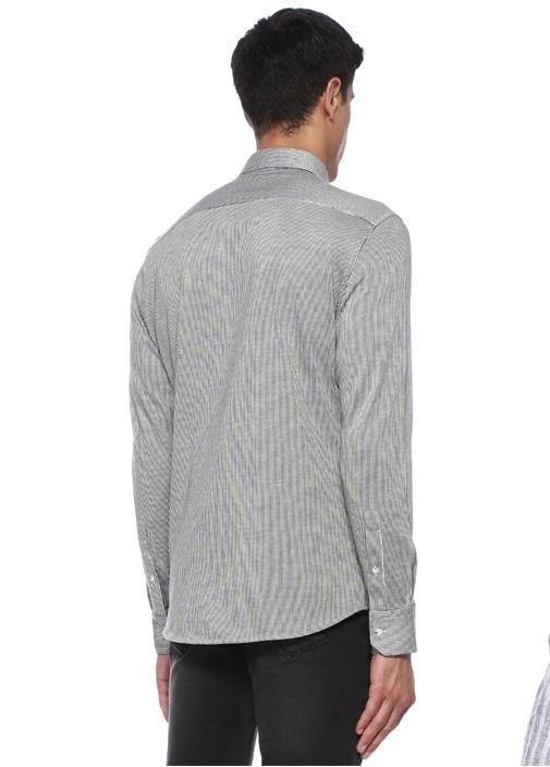 Slim Fit Haki Çizgili Düğmeli Yaka Logolu Gömlek