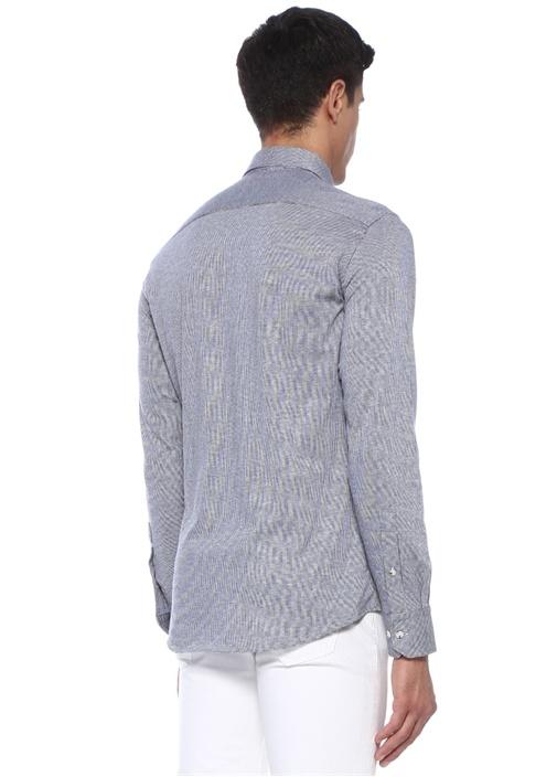 Slim Fit Lacivert Logolu Mikro Desenli Gömlek