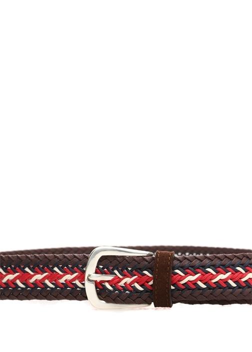 Kahverengi Kırmızı Örgü Dokulu Erkek Süet Kemer