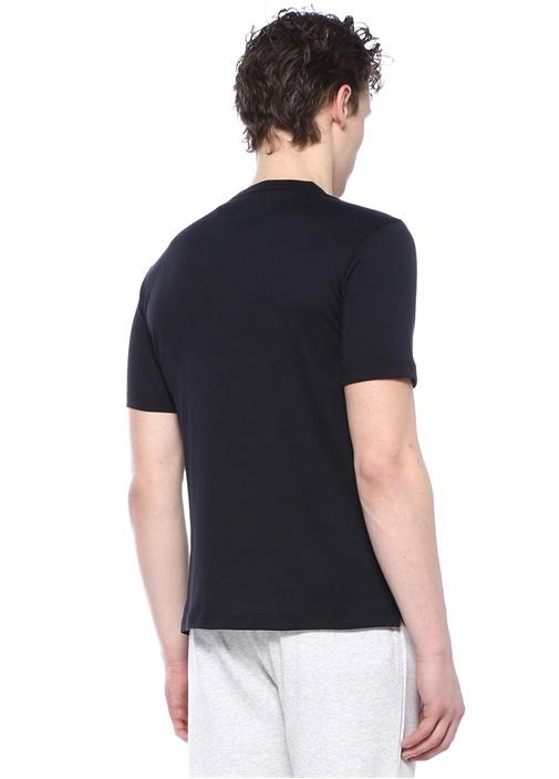 Lacivert Yakası Düğmeli Basic T-shirt