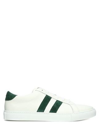 Beyaz Yeşil Şerit Detaylı Erkek Deri Sneaker