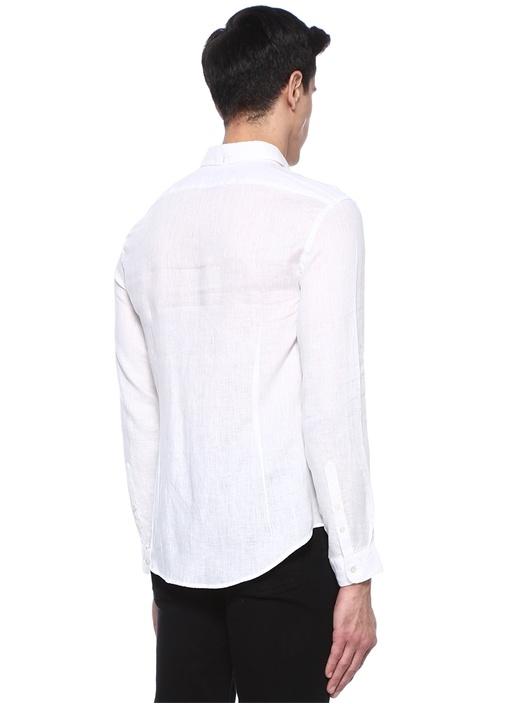 Beyaz İngiliz Yaka Cepli Keten Gömlek
