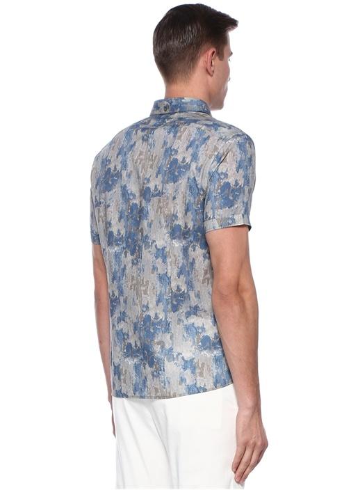 Mavi İngiliz Yaka Kamuflaj Desenli Keten Gömlek