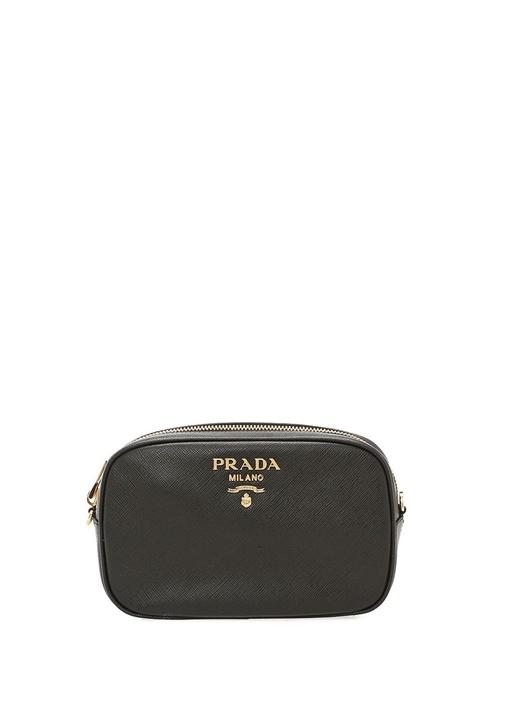Saffiano Siyah Gold Logolu Kadın Deri Çanta