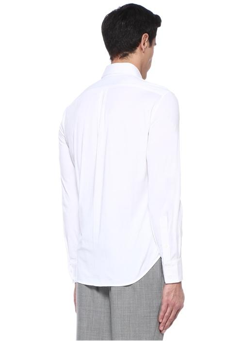Basic Fit Beyaz Kesik Yaka Gömlek