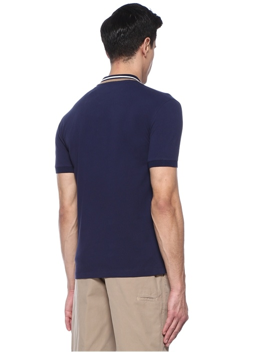 Regular Fit Lacivert Polo Yaka Şeritli T-shirt