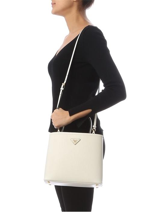 Double Medium Beyaz Logolu Kadın Deri Çanta