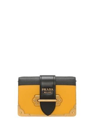 Prada Kadın Sarı Siyah Logolu Deri Çanta Ürün Resmi