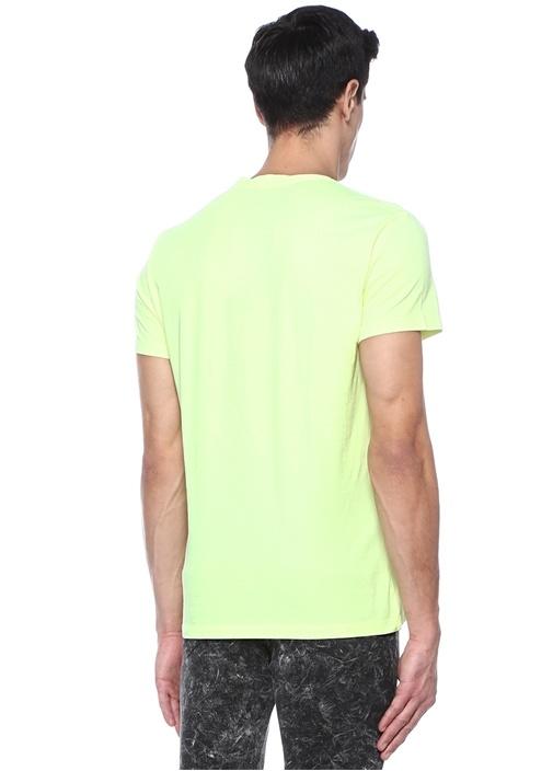 Neon Yeşil Bisiklet Yaka Logolu Basic T-shirt
