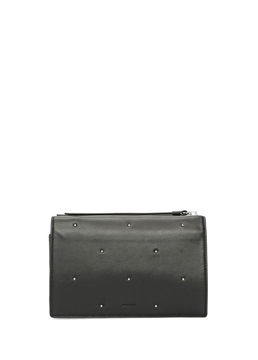 Kathi Siyah İnce Troklu Logolu Kadın Deri Çanta