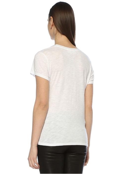 Jacksonville Beyaz Bisiklet Yaka Basic T-shirt