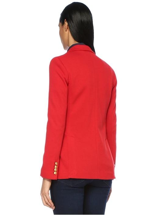 Kırmızı Kelebek Yaka Gold Düğmeli Blazer Ceket